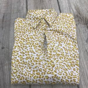 NY&CO STRETCH LNGSLV BUTTON DOWN LEOPARD PRINT M